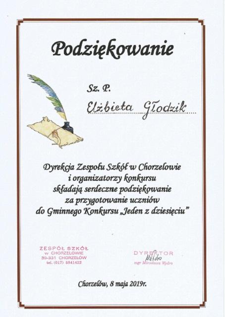 """You are browsing images from the article: Gminny Konkurs Wiedzy Ogólnej """"Jeden z dziesięciu"""" – 8.05.2019"""