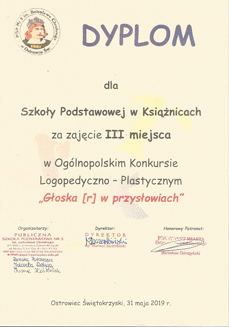 """You are browsing images from the article: Ogólnopolski Konkurs Logopedyczno – Plastyczny """" Głoska [r] w przysłowiach"""" – 31.05.2019"""