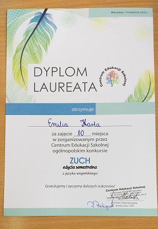 """You are browsing images from the article:  Laureaci Ogólnopolskiego Konkursu """" Zuch"""" z języka angielskiego."""
