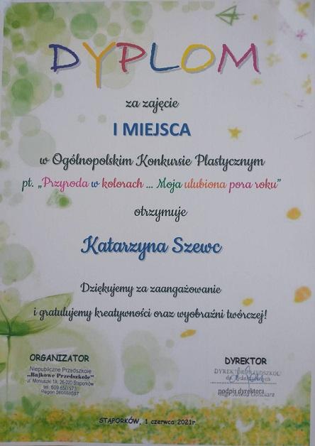 """You are browsing images from the article: Ogólnopolski konkurs plastyczny """"Przyroda w kolorach …Moja ulubiona pora roku"""" – 21.06.2021"""